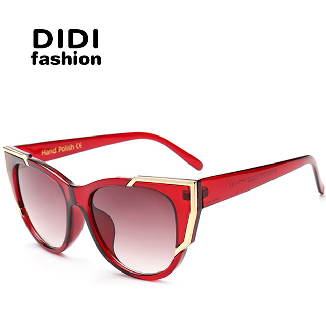 DIDI Polycarbonate Eye Cat Sunglasses American Women Sexy Red Clear Frame Sun Glasses Goggles Super Star Oculos Feminine W465