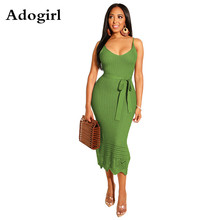 Grace Hook Flower Knit Rib Sexy Spaghetti Strap Dress Women  V Neck Lace Up Bandage Dress Elegant Bodycon Midi Dress Vestidos недорого