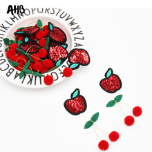 AHB Sequin Patches Iron-On Shiny Apple Appliques Felt Cherry Accessories Clothing Stickers DIY Applique