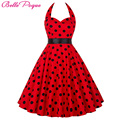 Belle poque verano vestidos de mujer 2017 túnica ocasional polka dot retro vintage 50 s rockabilly party pinup columpio dress plus tamaño