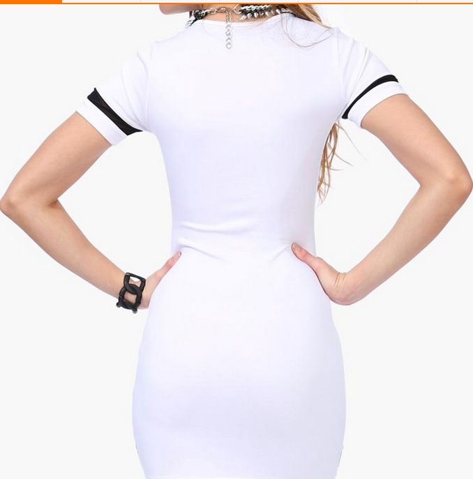 Women Slim Fit Dress Ladies Stretch Mini Dress Bodycon Dress Sexy Printing Digital Short Sleeve Round Neck Lace Stitching Dress in Dresses from Women 39 s Clothing