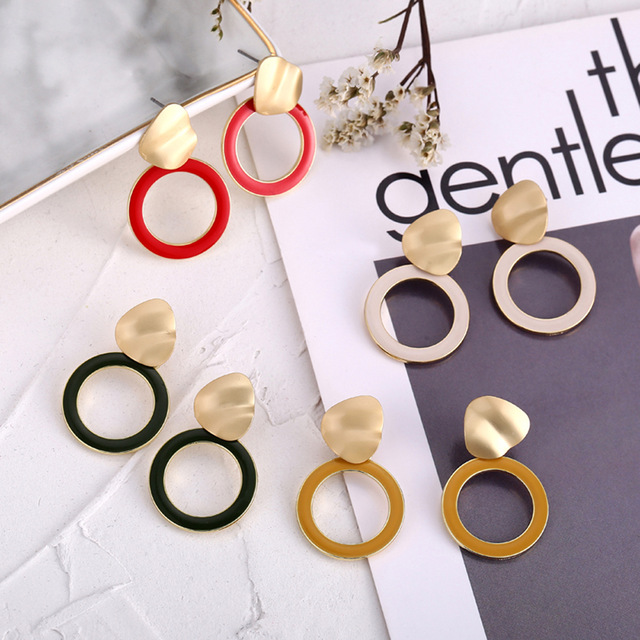 Circle Acrylic Korean Earrings For Women Trendy Round Dangle Statement Earrings Drop Red Green Jewelry Earring For Girl 2019 New circle