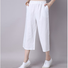42d1428a00 Summer Casual Pants women Cotton Linen Wide leg Pants Solid Plus size Calf-Length  Pants Women Loose Elastic Waist Trousers YL255