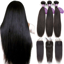 hot deal buy queenlike peruvian hair bundles with closure non remy weft 100% human hair 3 / 4 bundles straight hair bundles with closure