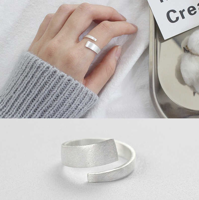 DreamySky Real 925 Sterling Silver Big Rings For Women Wedding Engagement Jewelry Large Round Antique Open Finger Rings Bijoux