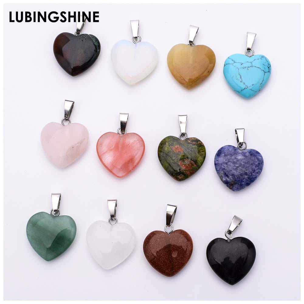 Multi Style 12pcs/lot Assorted Heart-shaped Pendant Natural Stone Cross Moon Charms Pendant For Necklace Jewelry Making Woman