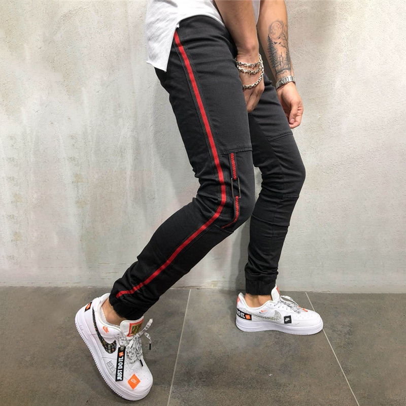 Black Jeans Men Hip Hop Stripe Slim Fit Denim Pants Male 2019 Casual Striped Pencil Denim Trousers Clothing