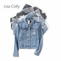 Lisa Colly Fashion Women Denim Jacket Vintage Cropped Short Denim Jackets Long Sleeve Blue Black Jeans Cardigan Coat