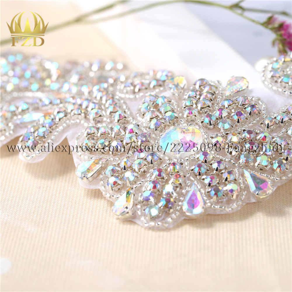 Diamante Plata Rhinestone Coser En Apliques De Cristal Motivo Parche De Novia Boda