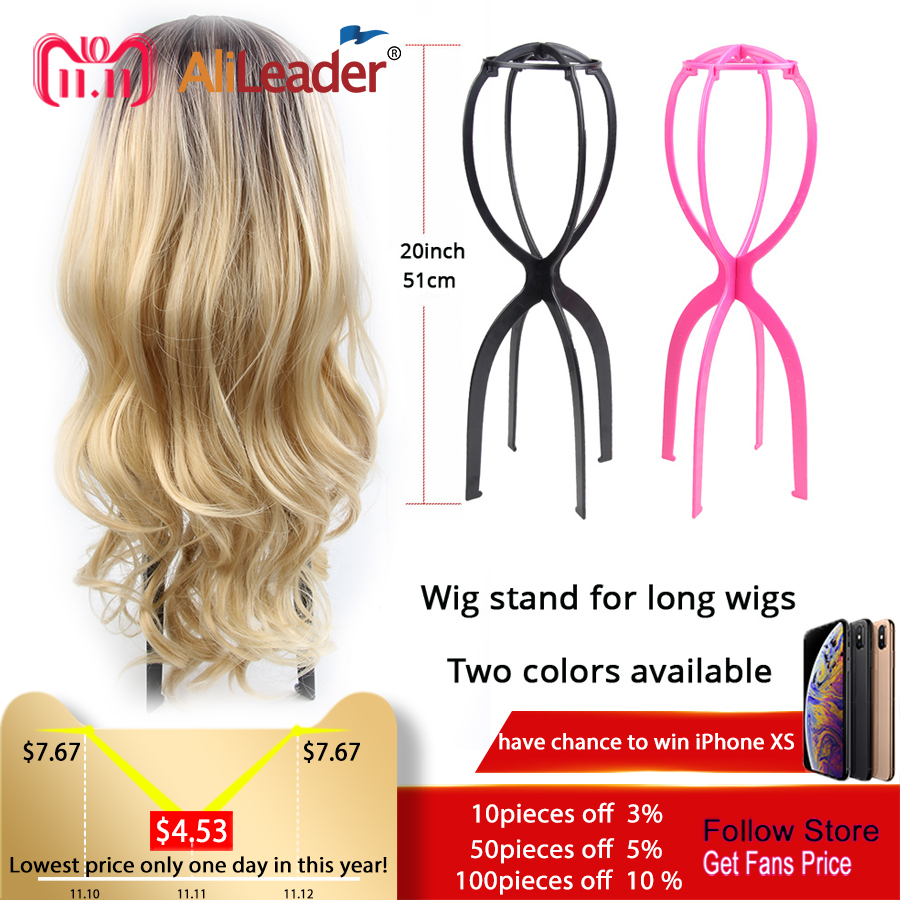 Pink Black 51Cm Wig Stand Head Plastic Wig Holder Stand Portable Folding For Styling Drying Display Travel For Women Long Wigs fluffy synthetic lolita curly flax mixed gold long side bang capless cosplay wig for women