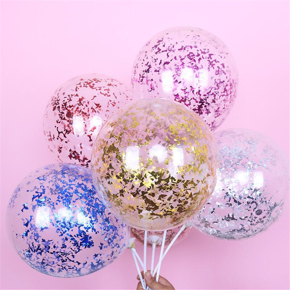 Cartoon Hat 5pcs/lot Clear Balloons Gold Star Foil Confetti Transparent Balloons  Party Decorations Cartoon Hat
