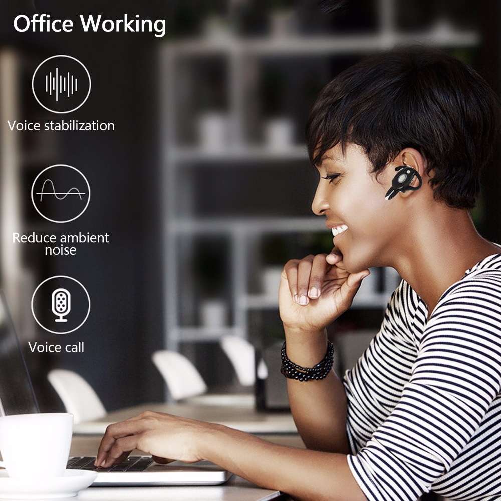 Bluetooth Headset Business Wireless Headphone With MIc Handsfree Earpiece Stereo Earphone For Samsung iPhone Motorola LG Huawei