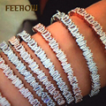 FEEROW New Arrival Rose/White Gold Plated Geometric Cubic Zircon Crystal Cuff Baguette bracelet Bangles For Girl Party FWBP138