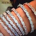 FEEROW Nueva Llegada Rose/Oro Blanco Plateado Geométrica Cubic Zircon Crystal Baguette Brazalete Brazaletes de la pulsera Para La Muchacha Partido FWBP138