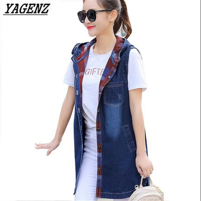 YAGENZ 2017 Spring Women Hooded Denim Vest Jacket Coats Leisure Slim Large size student Cowboy Vest Jacket Autumn Outerwear A129