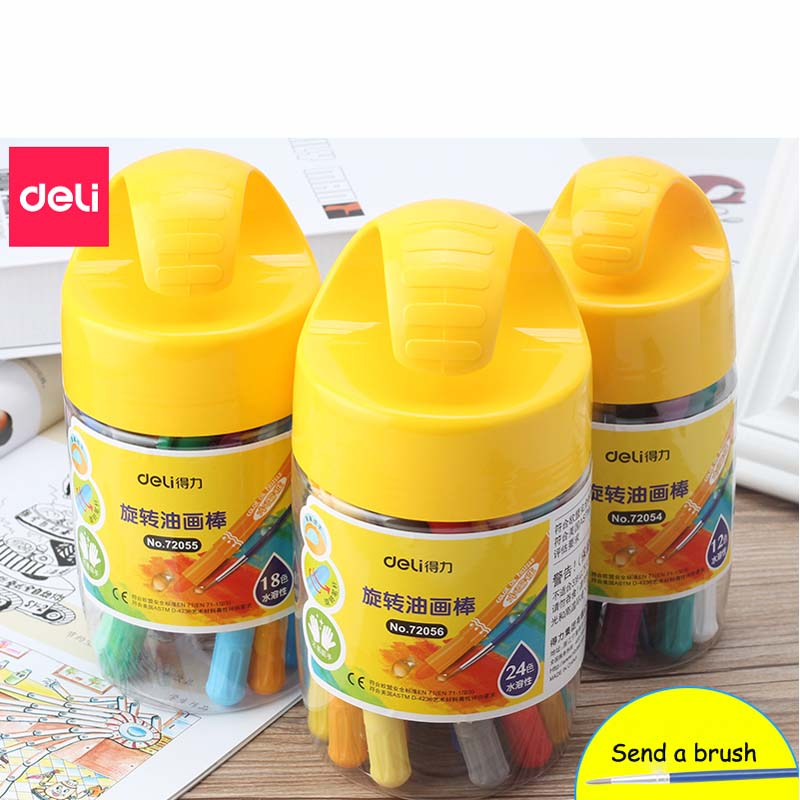 Deli High Quality Round Shape Oil Pastel for Artist Students Drawing Pen School Stationery Art Supplies Wax Crayon 40D72054