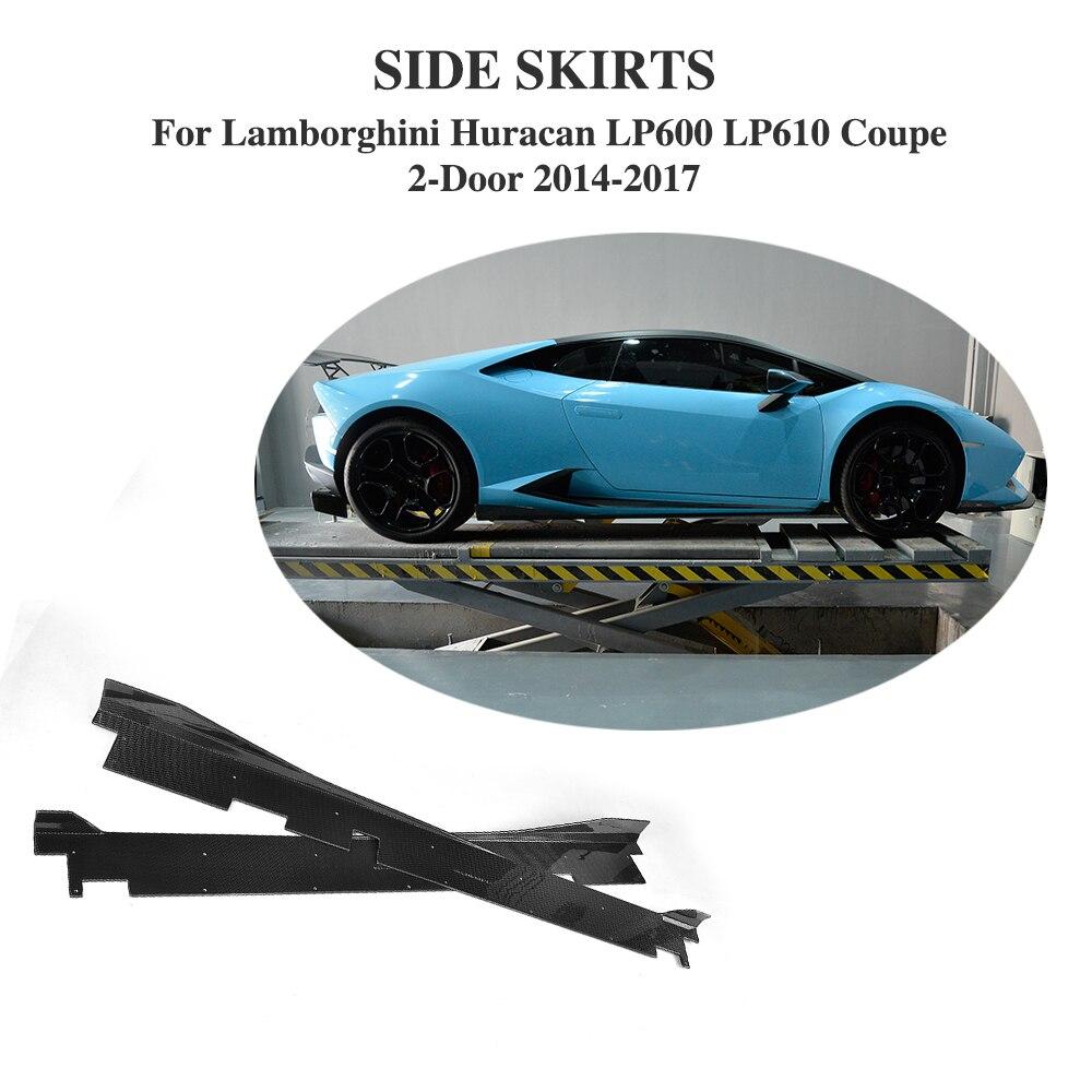 Углеродного волокна боковые юбки фартуки бамперное формование накладка чехол для Lamborghini Huracan LP600 LP610 купе 2 двери 14 17 автомобильные аксессуар