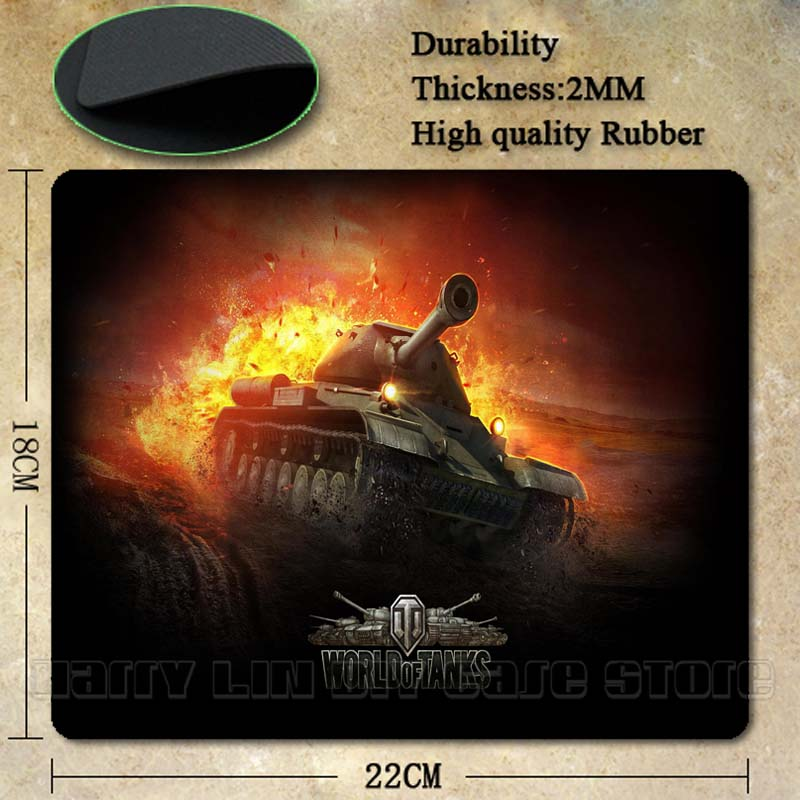 Babaite Top Selling World of Tanks Popular Gaming Rectangle Silicon Durable Mouse Pad Computer Mouse Mat 180X220X2MM 250X290X2MM
