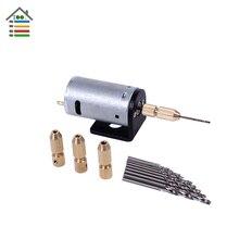 DC 12V Electric Motor PCB Hand Drill Press Drilling Wood w/ 10PC 0.8-2.5mm Twist Bits Set 2.3mm Copper Collets Bracket Stand
