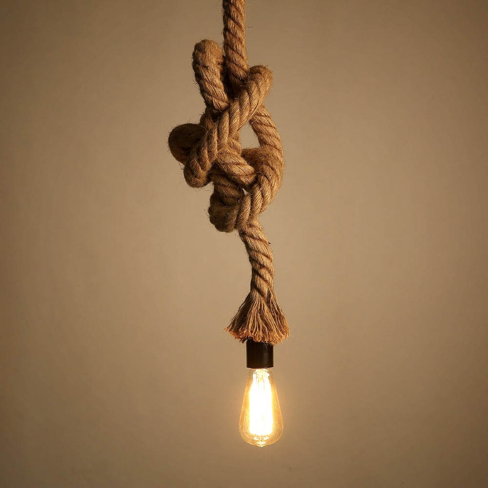 Vintage Loft Pendant Lights Fixture Hemp Rope Edison E27 Holder Wicker Light Drop Hanging Lamps In From Lighting