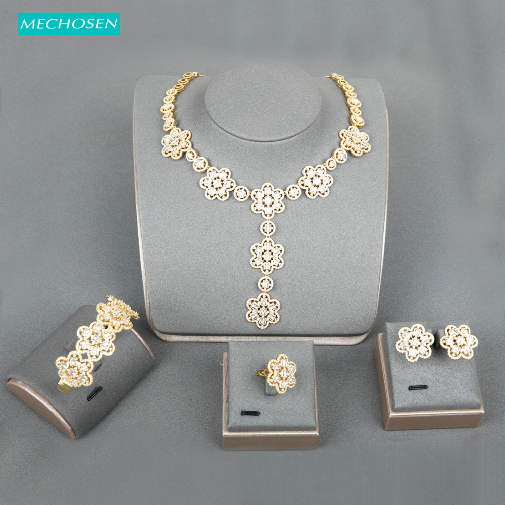 Meselected exquis élégant ensemble de bijoux en forme de fleur plein Zircon bracelet collier boucles d'oreilles anneau ensemble pour les femmes fiançailles meilleur cadeau