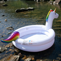 1.5M Eco friendly PVC Inflatable Unicorn Outdoor Swimming Pool Kids Play Family Summer Round Bathtub for Children Boia Piscina