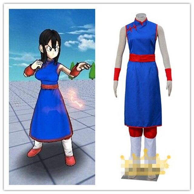 Anime Dragon Ball Chi-Chi Cosplay Mulheres Traje Terno Criança Azul Fantasia  Vestido de Trajes 128b01239df9