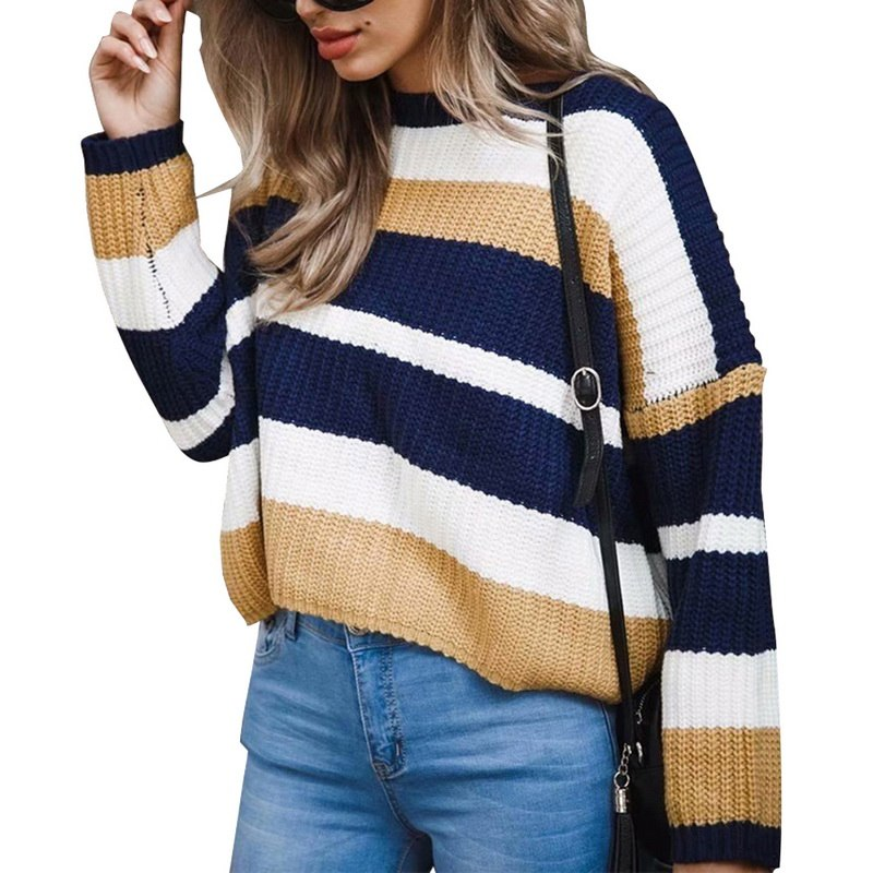 WENYUJH Women Sweater Knitted O Neck Striped Contrast Color Pullover Long Sleeve Autumn 2019 New Casual Sweater Pull Femme