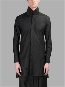 Bar Nightclub Singer Stage Costumes New Plus Size Men Clothing Long-sleeved Black Shirts Hairstylist Tide Loose Shirt Top