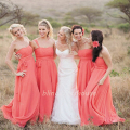 Coral Colored Bridesmaid Dresses Convertible Chiffon Long Cheap Elegant Bridesmaid Dress Wedding Party Dress Women Formal Dress