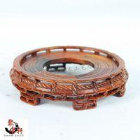 Stone Carving Rosewood Mahogany Wood Carving Handicraft Circular Base Figure Of Buddha Vase Furnishing Articles