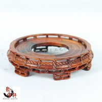 Stone Carving Rosewood Mahogany Wood Carving Handicraft Circular Base Figure Of Buddha Vase Furnishing Articles