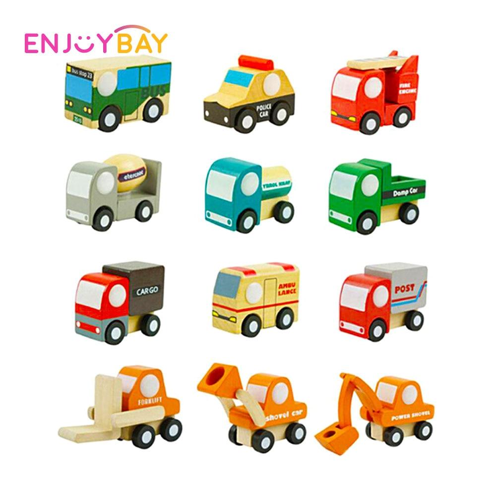 Enjoybay 12pcs/set Wooden Car Model Toys Mini Cartoon Wood Vehicles Kits Baby Early Educational Toy Birthday Gifts for Children
