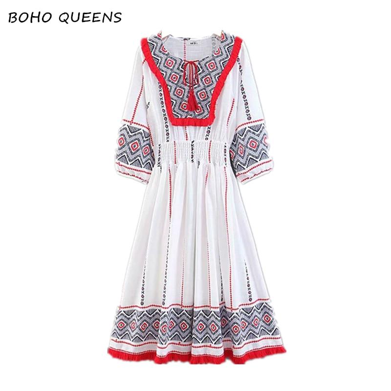 Vintage Chic vestidos Boho dress Linen cotton Floral embroidery beach Bohemian midi dress Ladies tassel Summer