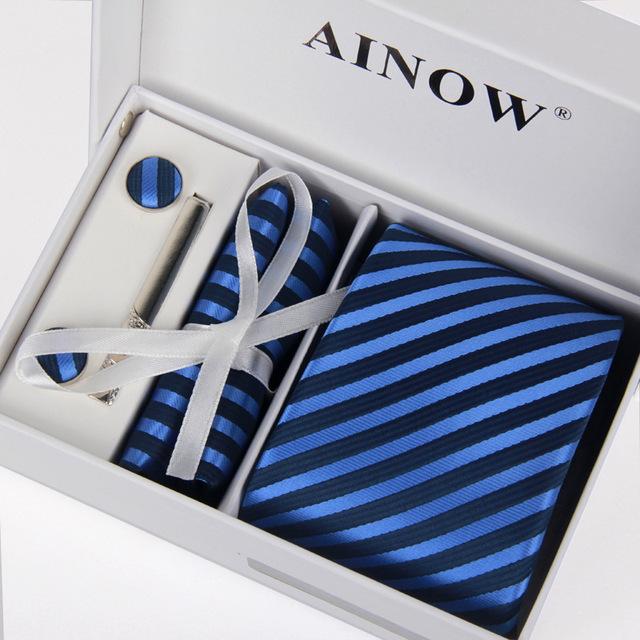 Hombres de la alta calidad 100% 8 cm corbata y gemelos & Tie clip + pañuelos con 6 sets jacquard gravatas Boda lote sí caja