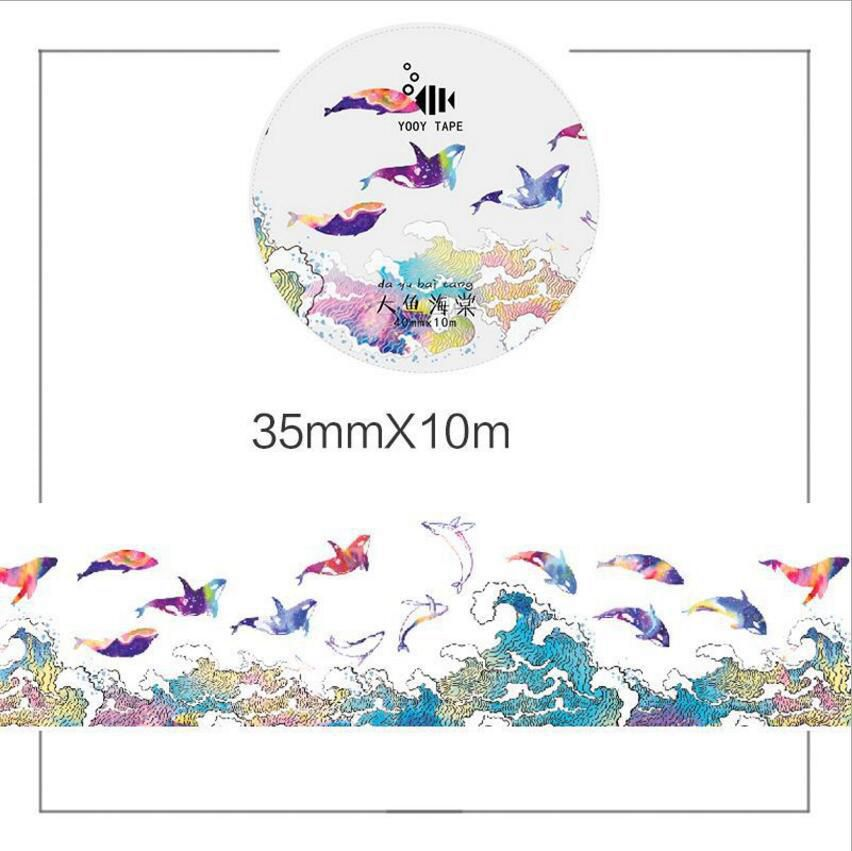 Golden Printed Fashion The Fish And Birds Classic Vintage Fashion Masking Tape 35mm*10M, 25mm*10M, 45mm*10M DIY Journal Supplies bloodlines the golden lily