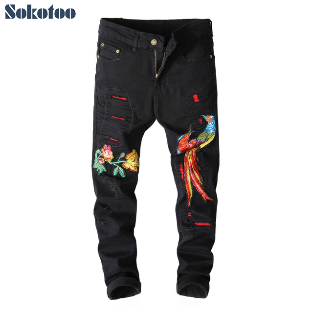 Sokotoo Men's phoenix embroidery slim fit ripped jeans Fashion contrast color patchwork denim pants White Black Green Red