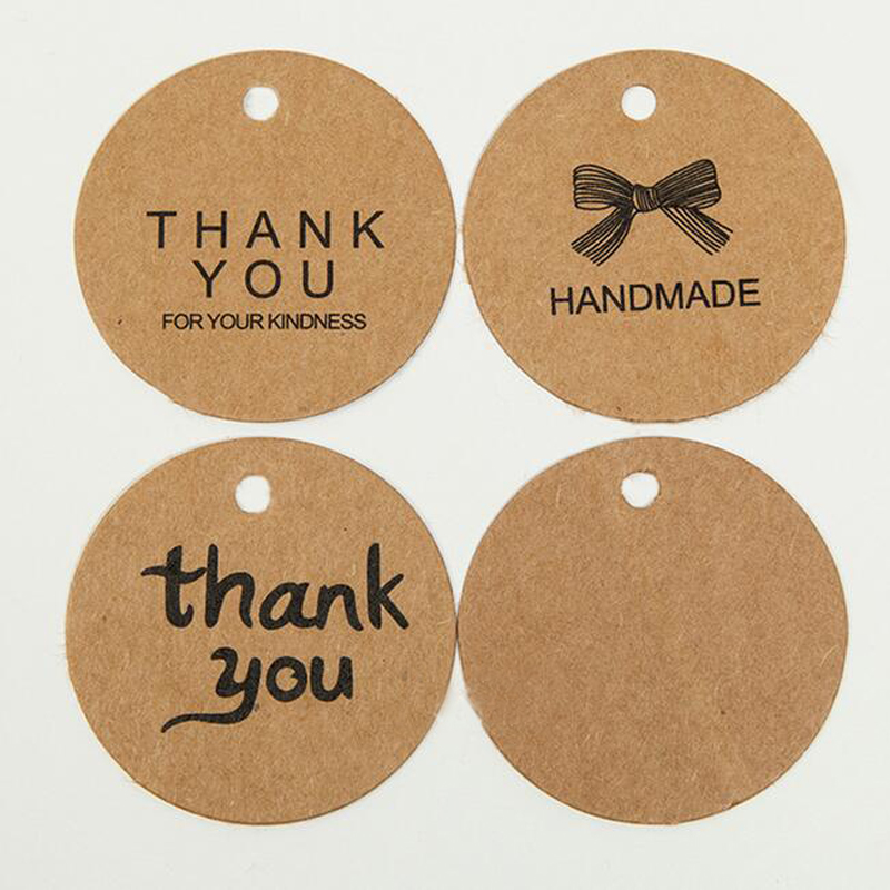 100pcs Kraft Paper Tags Handmade Thank You Head Label Luggage DIY Christmas Wedding Party Accessories Hang Tag Kraft Gifts