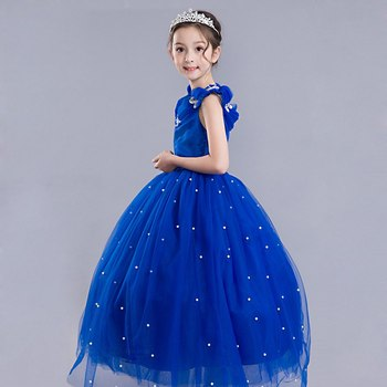 Princess Cinderella Dress up Clothes Girl Off Shoulder Pageant Ball Gown Kids Deluxe Fluffy Bead Halloween Party Costume 4