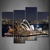 Framed Wall Art Pictures Sydney Opera House Lake Canvas Print City Posters With Wooden Frames For Home Living Room Decor