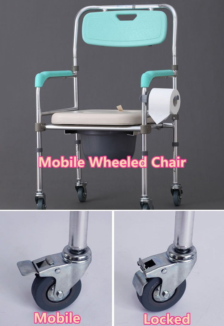 1x Folding Mobile Adult Potty Chair 4 Wheels Wheelchair Toilet ...
