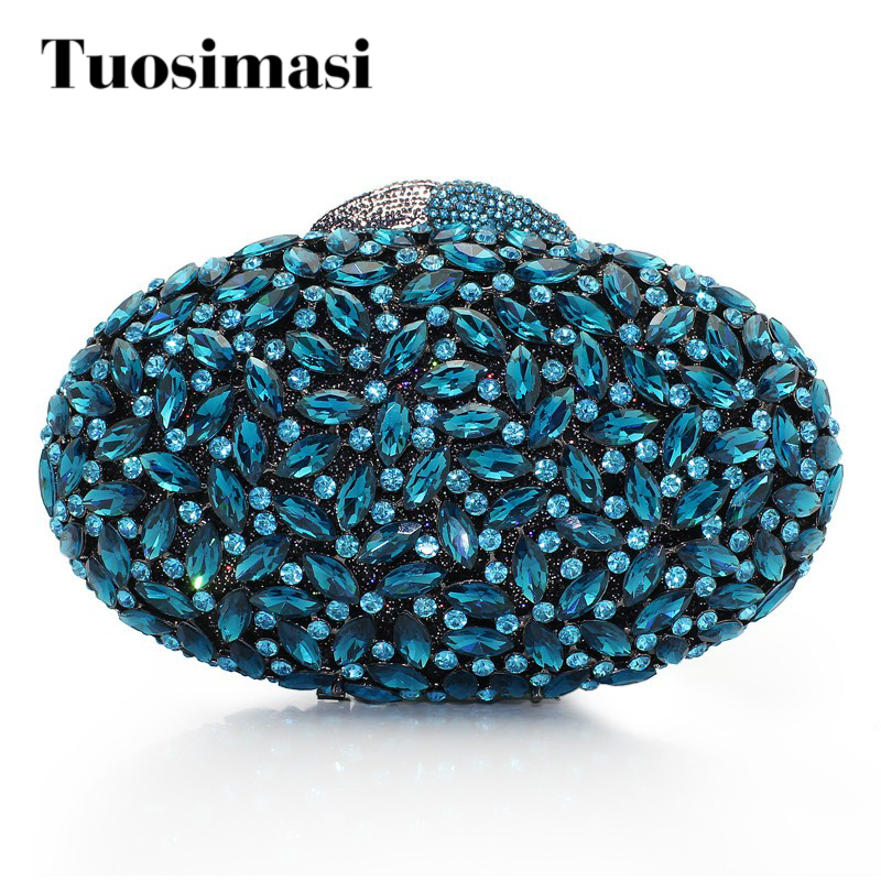 New product oval shaped diamond handmade ladies crystal blue color wedding clutch bag women handbags little pieces платье little pieces модель 28949119