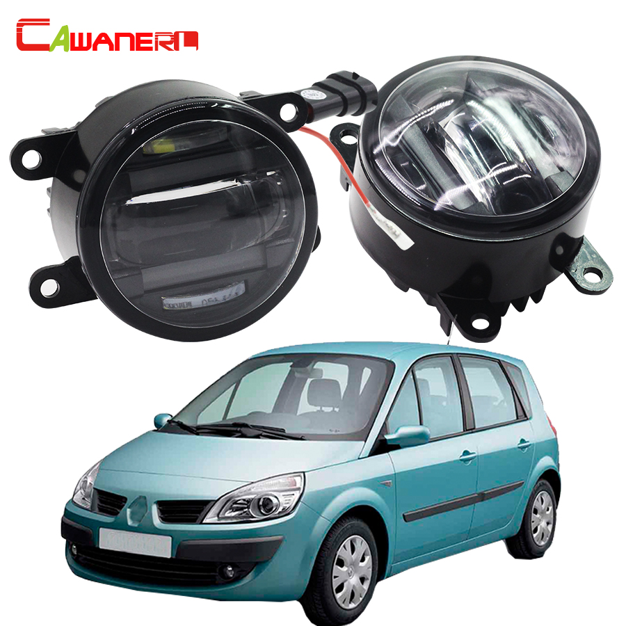 цена на Cawanerl 2 X Car LED Right + Left Fog Light DRL Daytime Running Lamp Styling For Renault Scenic 2 / II JM0 JM1 MPV 2003-2009