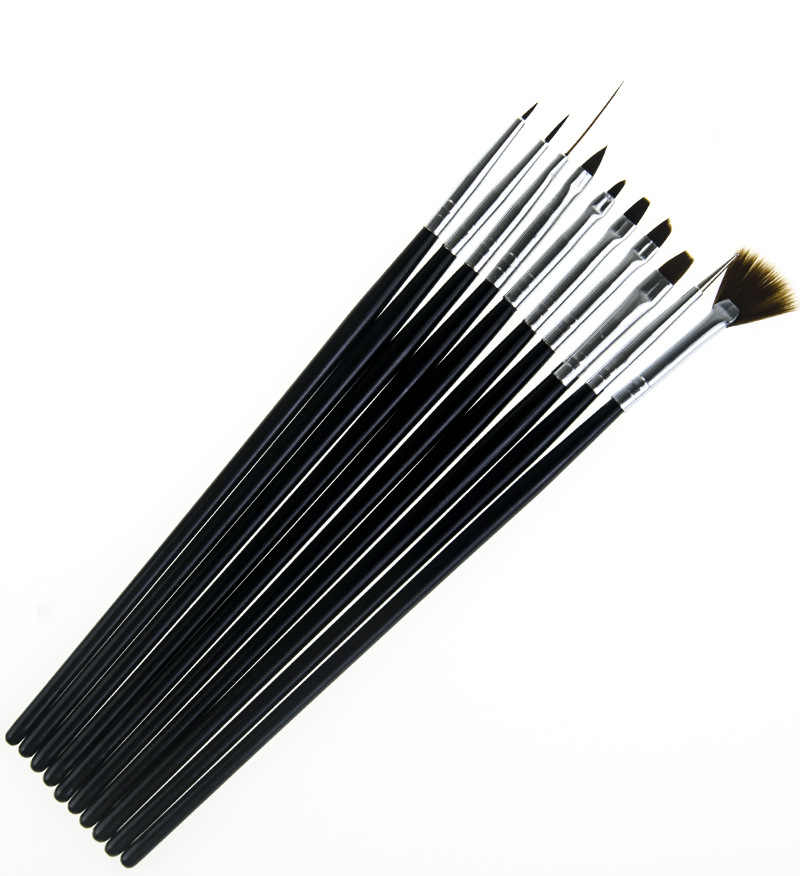 10 piezas de revestimiento de pincel de Arte de uñas diseño de ventilador acrílico de construcción de cristal plano de pintura de tallado pluma UV Gel manicura conjunto de herramientas