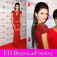 Kendall Jenner Kleid Kristall Perlen Kurzarm Chiffon Red Long Ausgestattet Rot Abendkleid Keyhole Ausschnitt Formal Abendkleid