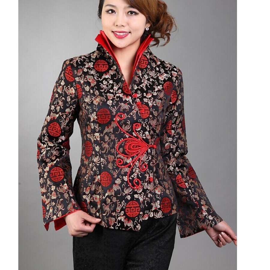 Лидер продаж Черный традиционный китайский Для женщин шелковый атлас пальто  куртки Цветы Размеры размеры S M L XL XXL, XXXL Бесплатная доставка cee6fdcbb42