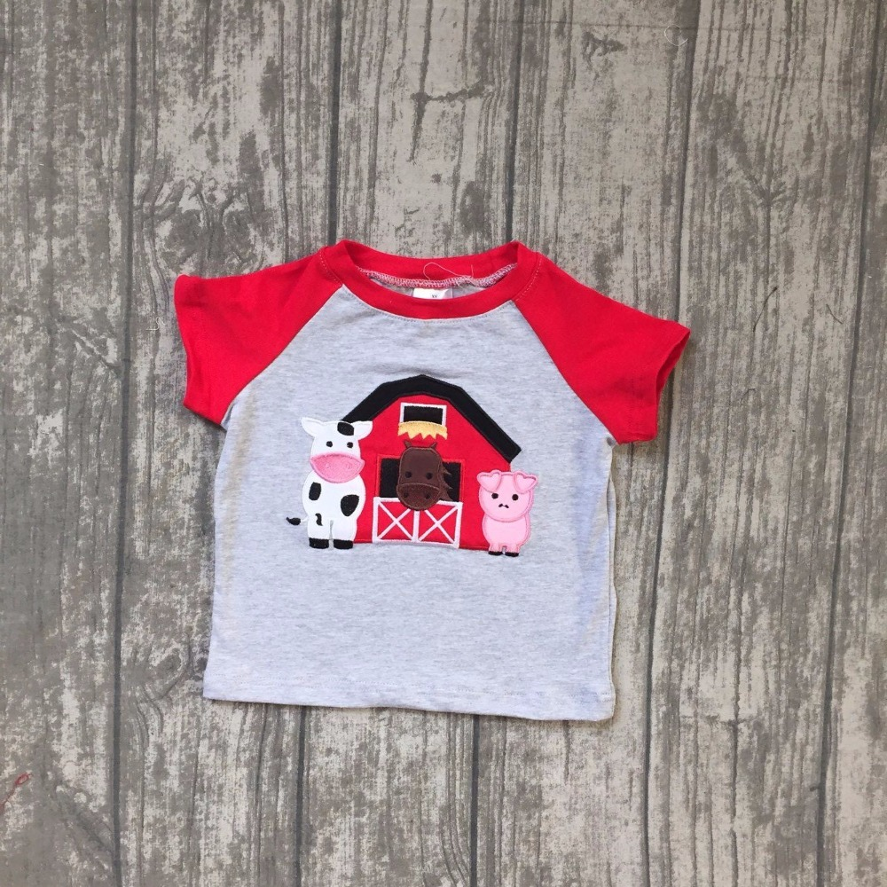 new arrival baby boys house cow t shirts children boys back to school top raglans boys summer red sleeve t shirts outfits