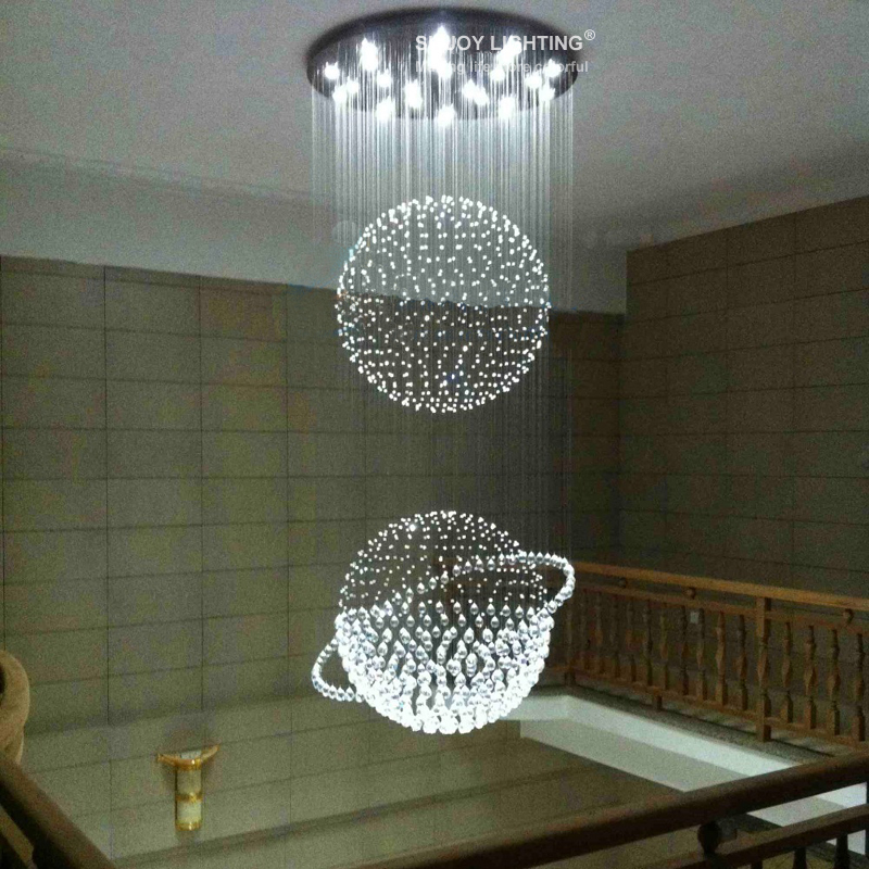 Modern design double sphere ball led k9 crystal chandelier stairecase big lighting fixture in pendant lights from lights lighting on aliexpress com