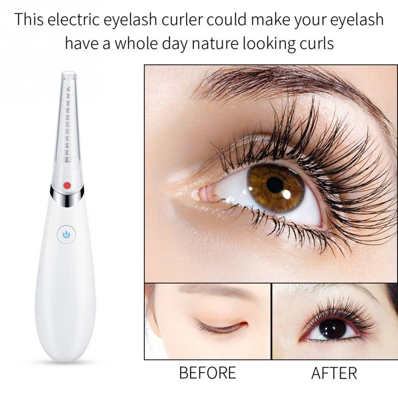 Mini Electric USB Heated Eyelash Curler Double Heated Wire Eye lashes Curler Brush Eye Lashes Styling Curling Iron Makeup Tools handy electric eyelash curler white green 2 x aaa
