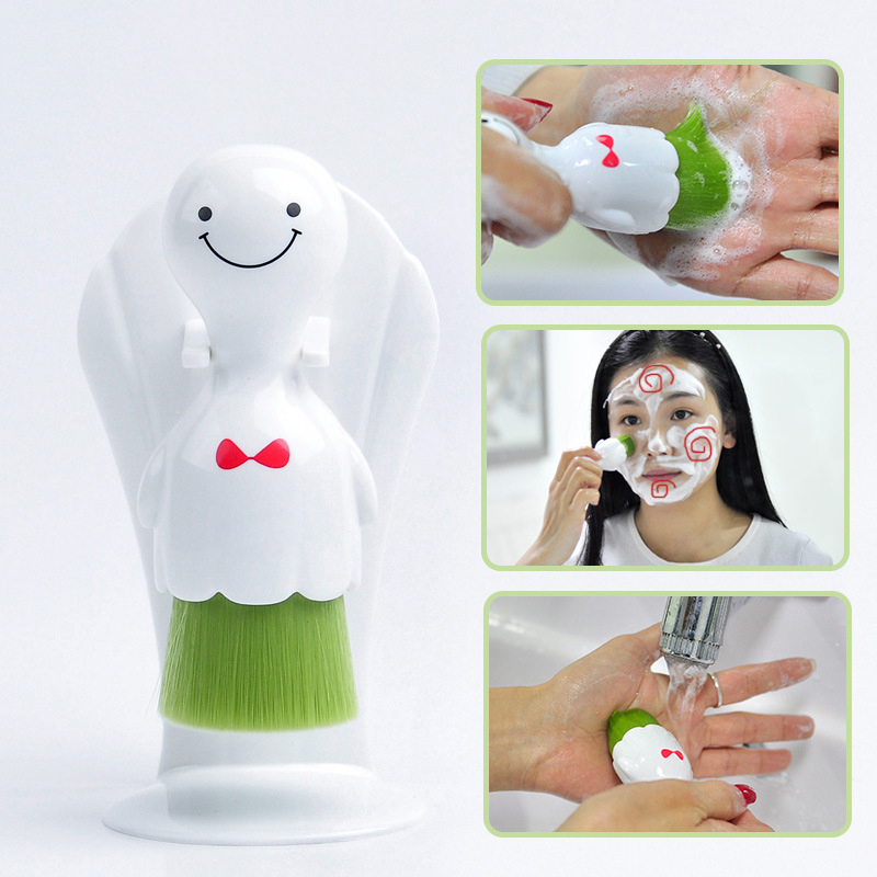 Wash face brush sunny doll wash face artifact brush seaweed antibacterial genuine white series of ultra-soft cleaning brush deep face cleansing brush facial cleanser 2 speeds electric face wash machine
